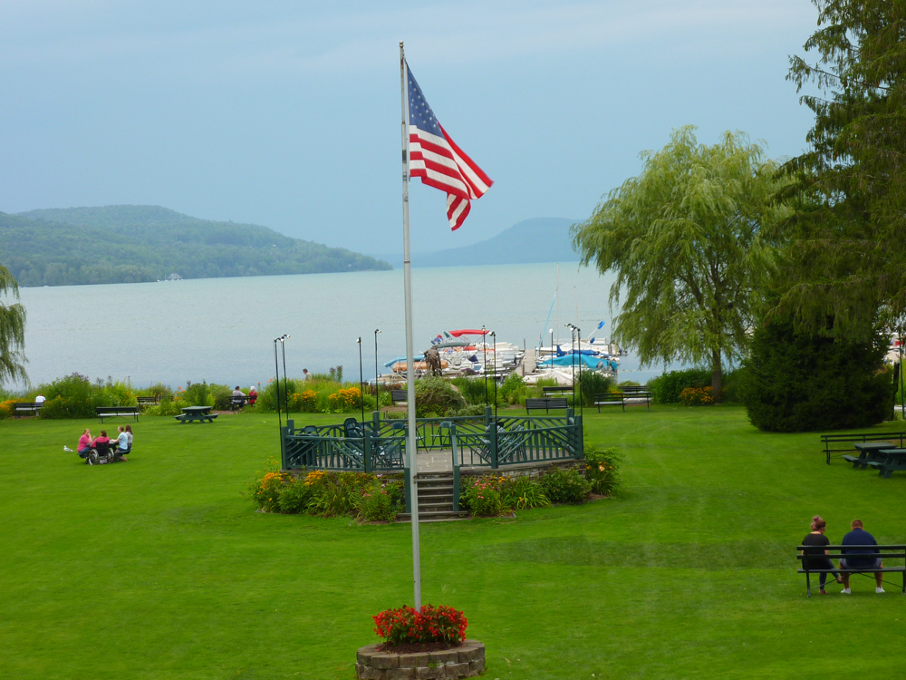 Lakefront Park in Cooperstown, New York in August